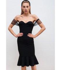 sukienka ołówkowa z falbaną