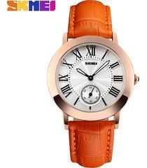 reloj de cuero para mujer-naranja