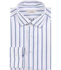 camicia da uomo su misura, albini, righe azzurre zephyr, primavera estate   lanieri