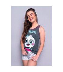 pijama curto 4 estações preguiça adulto regata curto verão básico rosa