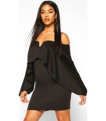 off the shoulder cape sleeve mini dress, black