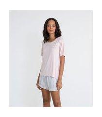 pijama curto em viscolycra com frase de amor | lov | rosa | g