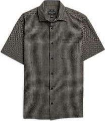 pronto uomo black & tan check short sleeve sport shirt