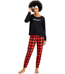 jenni fleece pants pajamas & eye mask 3pc set, created for macy's