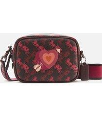 coach 1941 women's coated canvas heart print camera bag - black/oxblood