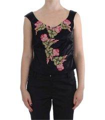 floral silk stretch tank top
