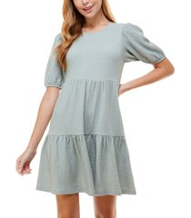 crystal doll juniors' short sleeve textured tiered dress