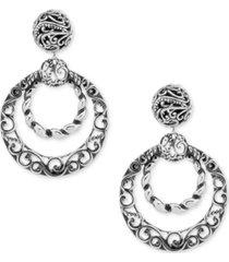 filigree gypsy hoop earrings in sterling silver