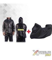 impermeable + pijama para moto + zapatones