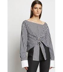 proenza schouler stripe poplin tie top 10201 black/white 6