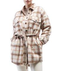 oat belted shirt jacket
