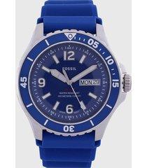 reloj azul-plateado fossil
