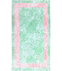 martha stewart collection tropical monstera velour beach towel, created for macy's bedding