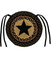 olivia's heartland country tartan star braided chair cover pad ~ burgundy & tan
