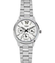 reloj analógico mujer casio ltp-2085d-7a cronógrafo - plateado con blanco  envio gratis*