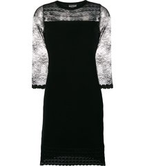 boutique moschino lace insert knit cocktail dress - black