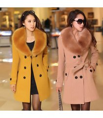 2017 winter women's double breasted big fur collar plus size wool coat long wint