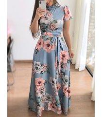 cinturón diseño floral high cuello manga corta vestido