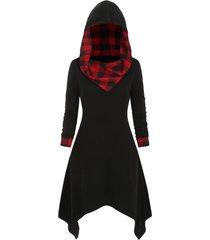 plus size plaid hanky hem hoodie dress