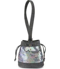 chanel pre-owned 1998 mini sequinned handbag - blue