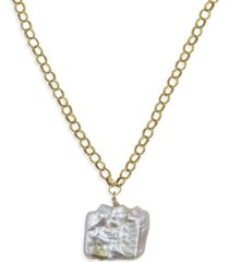 roberta sher designs 14k gold filled a square baroque natural pearl drop dramatic, modern heavy chain