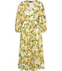 borgo de nor mia lemon-print broderie anglaise dress - yellow