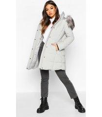 faux fur trim quilted detail parka coat, grey