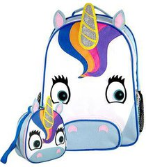 kit infantil mochila escolar mumagi + lancheira unicórnio feminina