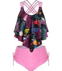 plus size printed overlay cinched tankini swimwear