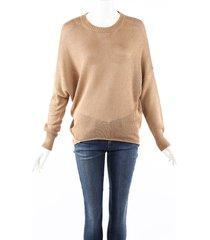 etro brown knit crew neck sweater brown sz: s
