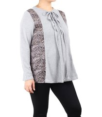 sweater gris minari combinado volados plus size