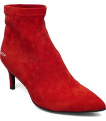 boots in faux suede w. embroidery shoes boots ankle boots ankle boot - heel röd coster copenhagen