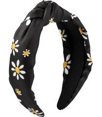 kate spade new york daisy dot knot silk headband in black at nordstrom