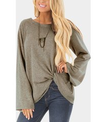 grey crossed front design plain round neck flared sleeves t-shirt