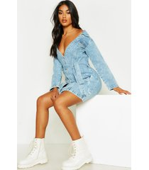 acid wash off the shoulder belted denim dress, light blue
