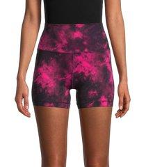 90 degree by reflex women's wonderlink tie-dye shorts - size l