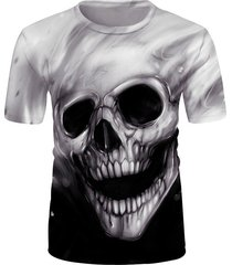 3d skull graphic crew neck short sleeve tee