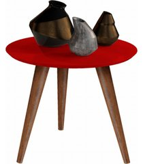 conjunto mesa centro e lateral retrô cissa - vermelho - compre aqui