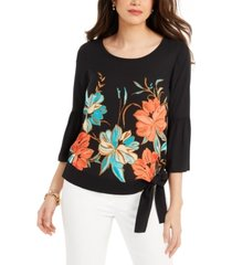 jm collection petite side-tie bell-sleeve top, created for macy's