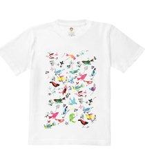 camiseta kids nerderia passaros branco - kanui