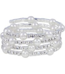 macy's station imitation pearl with crystals coil wrap bracelet