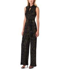 tahari asl printed rope-belt jumpsuit