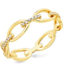 sterling forever women's 14k gold vermeil & crystal open chain link ring/size 6 - size 6