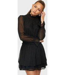 missguided high neck shirred waist dress långärmade klänningar