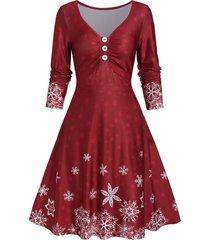 a line snow print button long sleeve dress