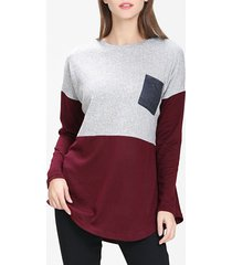 front pocket colorblock tunic sweater