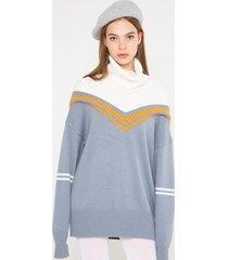 sweter z golfem z domieszką angory