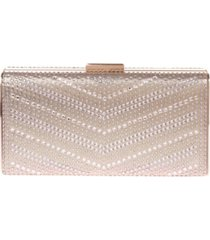 la regale large chevron pattern crystal box clutch