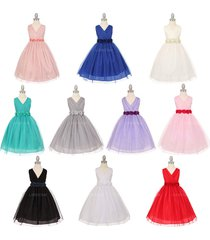 v-neck pleated crystal tulle bridesmaid pageant birthday party flower girl dress