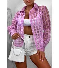 organza mesh flannel blouse, lilac